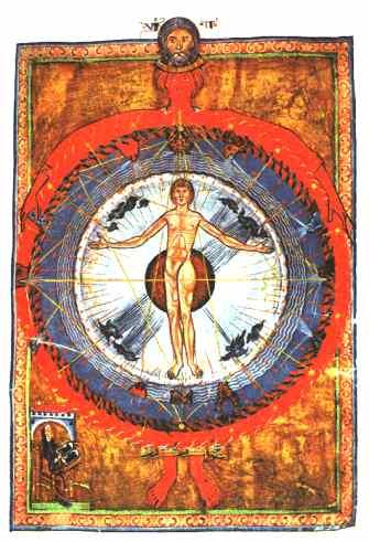 Hildegard von Bingen - Der kosmische Mensch (Die braune Kugel im Hintergrund ist die Erde)